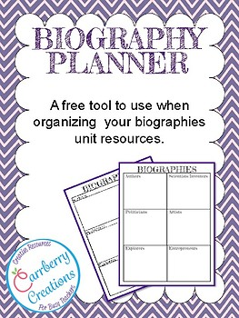 Biography Unit Resource Planner Freebie