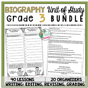 Biography Unit of Study: Grade 3 BUNDLE