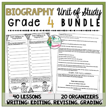 Biography Unit of Study: Grade 4 BUNDLE