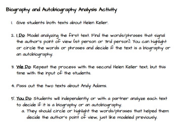 Biography V. Autobiography Analysis Pack