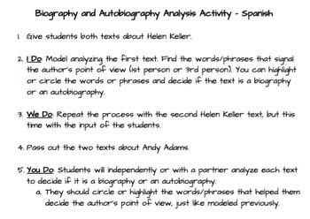 Biography V. Autobiography Analysis Pack SPANISH