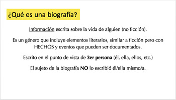 Biography V. Autobiography Analysis Pack SPANISH