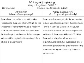 Biography Writing - About a Classmate