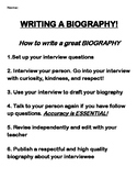 Biography Writing Assignment Printable Booklet