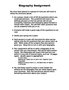 Writing Assignment - Classmate Biography Writing Project