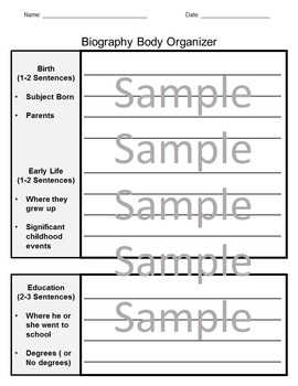 Biography Writing Project Graphic Organizer