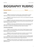 Biography Writing Rubric