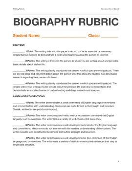 Biography Writing Rubric