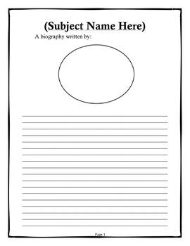 template for writing a biography - biography writing template editable by creative teachers