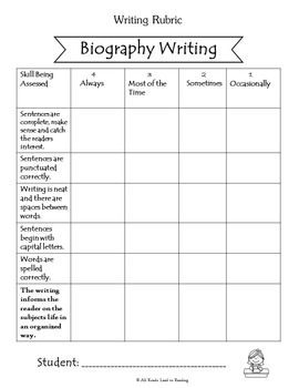 Biography Writing Unit for Grades 1-3