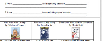 Biography and Autobiography Book Sort