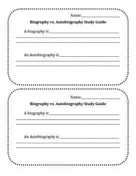 Biography and Autobiography Study Guide and Quiz