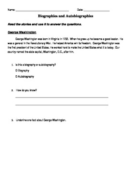 Biography and Autobiography Worksheet