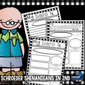 Biography Writing & Hero Writing- graphic organizers and writing papers