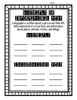 Biography and Informational Text Sort