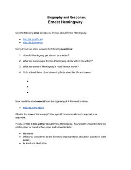 Biography and Response Activity: Ernest Hemingway
