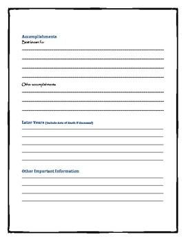 Biography fact sheet and report sheet
