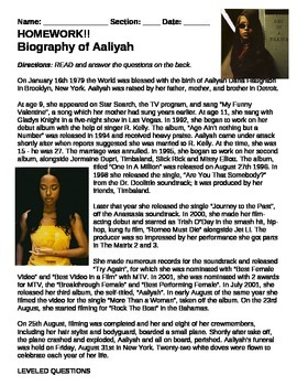Biography of Aaliyah- Higher level questioning