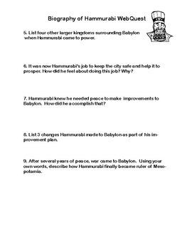 Biography of Hammurabi WebQuest