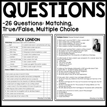 Biography of Jack London Reading Comprehension Worksheet- Call of the Wild