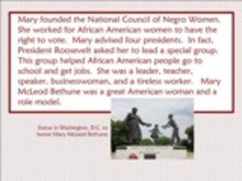 Biography of Mary McLeod Bethune Smartboard Lesson