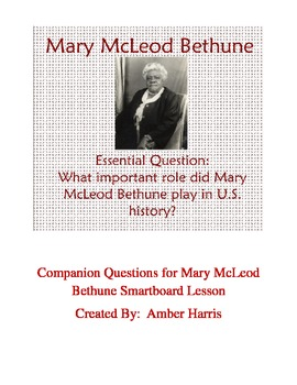 Biography of Mary McLeod Bethune Smartboard Lesson Questions