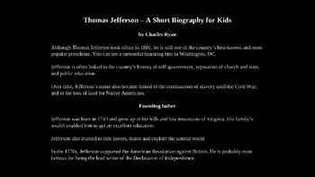 Biography of Thomas Jefferson PowerPoint with Review Quiz