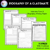 Biography of a Classmate - A first week writing activity