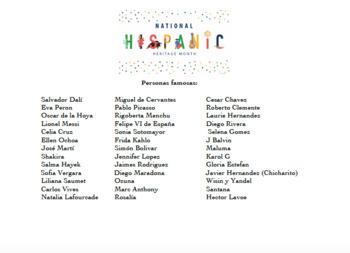 Biography of a Famous Hispanic (Hispanic Heritage Month Activity)