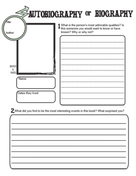 Biography or Autobiography Graphic Organizer for Reading