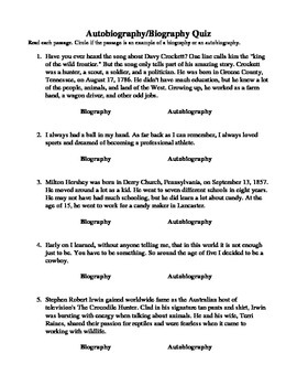 Biography or Autobiography Quiz