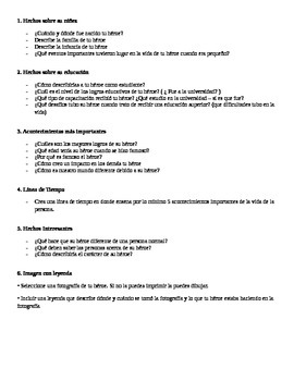 Biography project instructions (SPANISH)