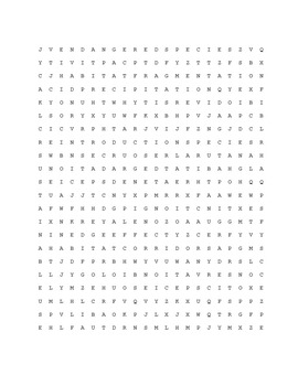 Biological Diversity and Conservation Word Search