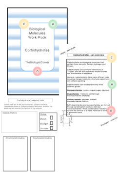 Biological Molecules Work pack - Carbohydrates