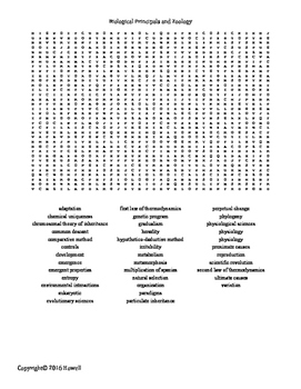 Biological Principles and Zoology Vocabulary Word Search for Zoology