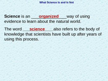 Biology 1.1 What is Science Fill-In-The-Blank Notes