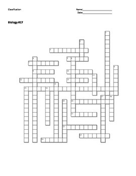 Biology #17 - Classification - Crossword Puzzle