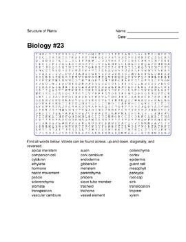 Biology #23 Structure of Plants - Wordsearch Puzzle