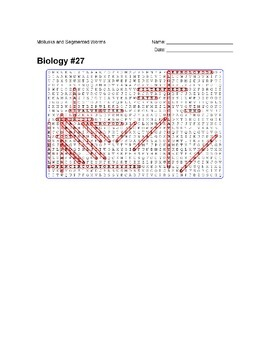 Biology #27 Mollusks and Segmented Worms - Wordsearch Puzzle