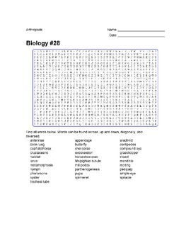 Biology #28 - Arthropods - Wordsearch Puzzle