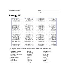 Biology #33 - Behavior of Animals - Wordsearch Puzzle
