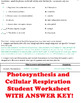 Biology Aerobic Respiration Cut and Paste Activity AND Worksheets!