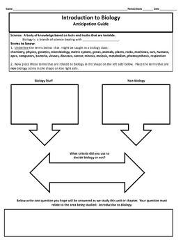 Biology Anticipation Worksheets