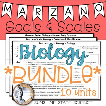 Marzano Goals and Scales BIOLOGY BUNDLE by Sunshine State ...