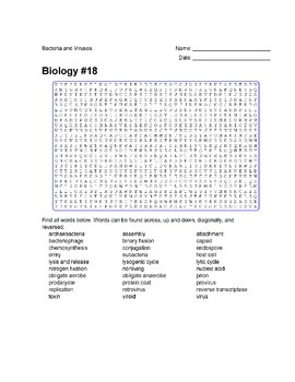 Biology #18 - Bacteria and Viruses - Wordsearch Puzzle