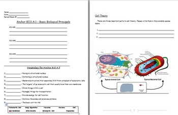 Basic Biology Principals - Cells; Cell Theory Worksheet Included