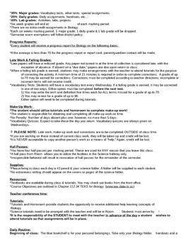 Biology Beginning of the Year paperwork