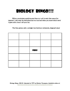 Biology Bingo