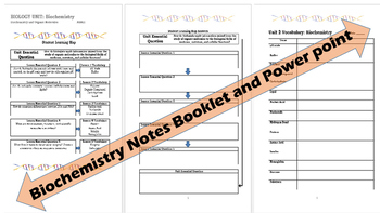 Biology Biochemistry PowerPoint and Student Work Booklet