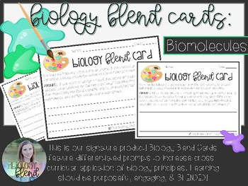 Biology Blend Card (Biomolecules): Differentiated, Ready-to-Print, Writing Cards